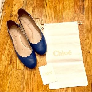 CHLOE BLUE LEATHER FLATS SIZE 37.5